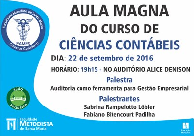 Aula Magna da Contábeis ocorre na próxima semana