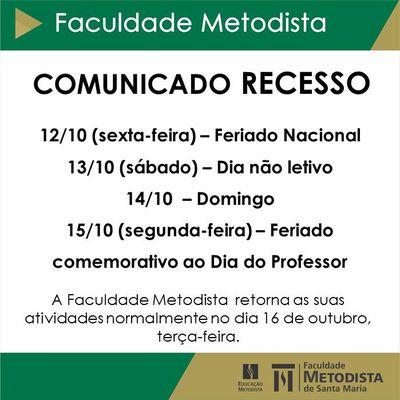 Comunicado – Recesso na Faculdade Metodista