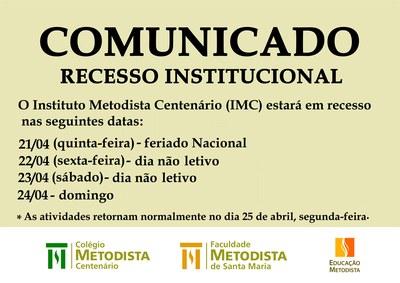 Comunicado - Recesso Institucional entre os dias 21 e 24 de abril