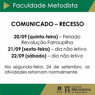 COMUNICADO: recesso na Faculdade Metodista