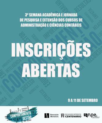 Inscrições abertas para 3ª Semana Acadêmica e Jornada de Pesquisa e Extensão dos Cursos de Administração e Ciências Contábeis da Faculdade Centenário