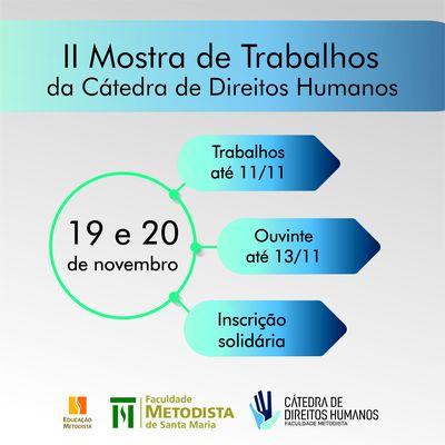 Inscrições para II Mostra de Trabalhos da Cátedra de Direitos Humanos abrem no dia 29