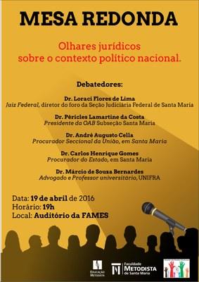 Mesa redonda da FAMES debaterá contexto político nacional